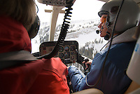 A young man pilots the helicopter for High Mountain Heli Skiing in Jackson Hole, Wyoming.
