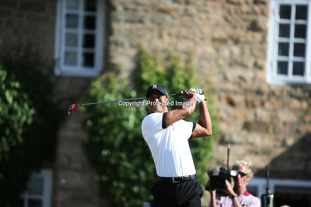 Tiger Woods (USA),<br /> JULY 18, 2013 - Golf :<br /> Tiger Woods of the United States in action on 10th hole during the first round of the 142nd British Open Championship at Muirfield in Gullane, East Lothian, Scotland. (Photo by Koji Aoki/AFLO SPORT)