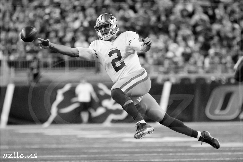 San Francisco 49ers quarterback Blaine Gabbert (2) passes against the Detroit Lions during an NFL football game at Ford Field in Detroit, Sunday, Dec. 27, 2015. (AP Photo/Rick Osentoski)