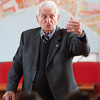 VENICE, ITALY - APRIL 03:  Ê Auschwitz Survivor Antonio Boldrin talks to a classroom telling the story of his adventure in a concentration camp on April 3, 2012 in Venice, Italy. Sentenced to death and already in front of the execution fire squad Boldrin was rescued by the Russian Army and was one of the few lucky prisoners that managed to survive the concentration camp.  (Photo by Marco Secchi/Getty Images)