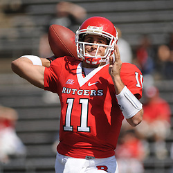 Apr 18, 2009; Piscataway, NJ, USA; Rutgers QB Domenic Natale (11) makes a pass towards WR Mohamed Sanu (not pictured) during the second half of Rutgers' Scarlet and White spring football scrimmage.