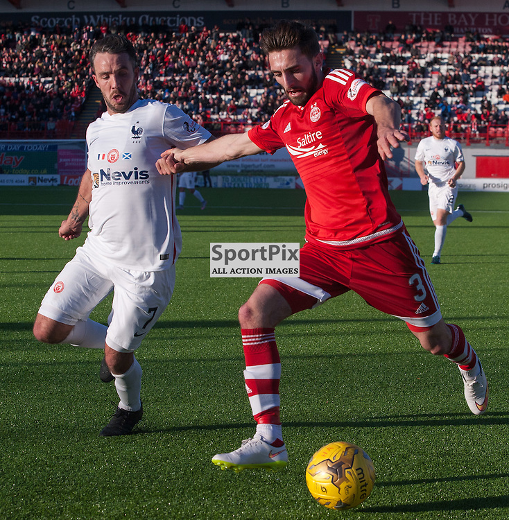 #7 Dougie Imrie (Hamilton Academical) and #3 Graeme Shinnie (Aberdeen)<br /> <br /> SPFL Premiership<br /> Hamilton Academical v Aberdeen<br /> New Douglas Park, Hamilton<br /> Sunday 22 November 2015<br /> <br /> &copy; Russel Hutcheson | SportPix 2015