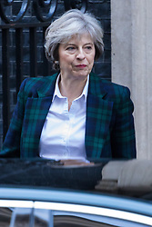 Downing Street, London, January 17th 2017. British Prime Minister Theresa May leaves 10 Downing Street to deliver her speech at Lancaster House on the UK's intended Brexit strategy outline