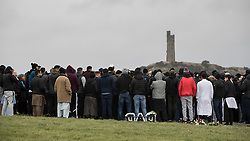 © Licensed to London News Pictures. 06/01/2017. Huddersfield, UK. Crowds at the graveside at the funeral of Yassar Yaqub at Hey Lane Cemmetary in Huddersfield, West Yorkshire. Yaqub, 28, from Huddersfield, was shot dead in a car stopped near junction 24 of the M62 as part of a planned police operation. Photo credit: Joel Goodman/LNP