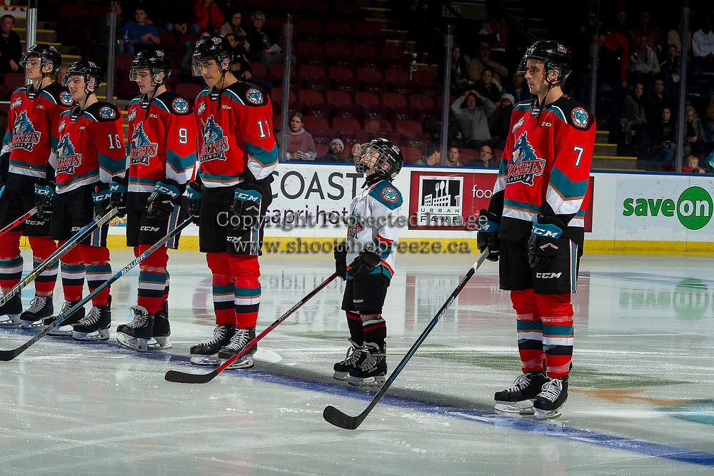 KELOWNA, BC - NOVEMBER 1:  The minor hockey player of the game lines up with the Kelowna Rockets against the Prince George Cougars at Prospera Place on November 1, 2019 in Kelowna, Canada. (Photo by Marissa Baecker/Shoot the Breeze)