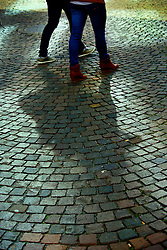 The cobblestone sidewalks of the central city of Lucerne.