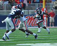 Ole Miss' Jeff Scott (3) runs with a catch at Vaught-Hemingway Stadium in Oxford, Miss. on Saturday, September 24, 2011. The play, a touchdown, was called back due to penalty. Georgia won 27-13.