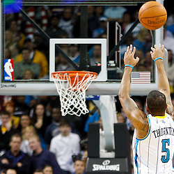 January 24,  2011; New Orleans, LA, USA; New Orleans Hornets guard Marcus Thornton (5) against the Oklahoma City Thunder during the second half at the New Orleans Arena. The Hornets defeated the Thunder 91-89. Mandatory Credit: Derick E. Hingle