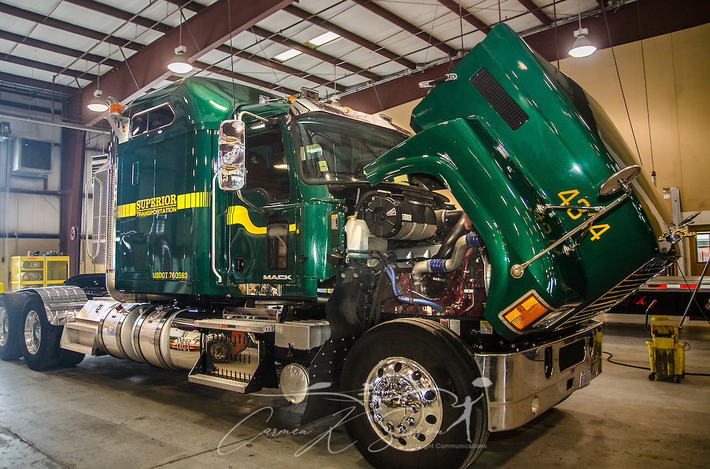 A Mack Pinnacle truck sits in the mechanic shop for routine maintenance at Superior Transportation, Oct. 2, 2015, in North Charleston, South Carolina. (Photo by Carmen K. Sisson/Cloudybright)