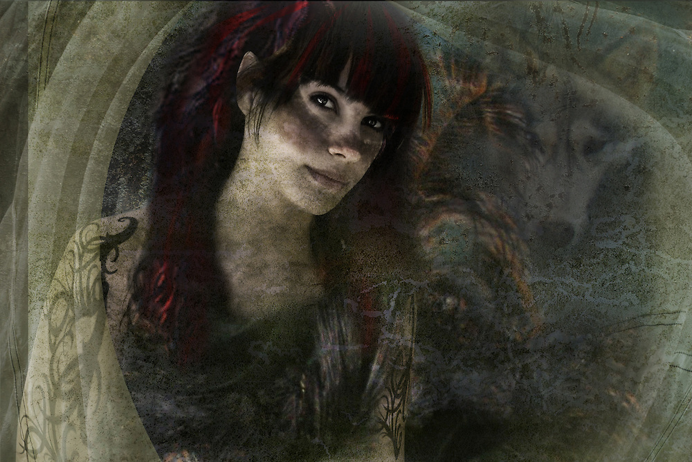 fantasy image of a young woman looking at the camera with a wolf in the background