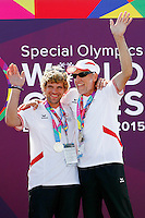 1 August 2015: Special Olympic World Games Los Angeles Sailing Finals in Long Beach, California.  Team Australia Friedrich Trippolt and Jacob Williams with their competition medals.