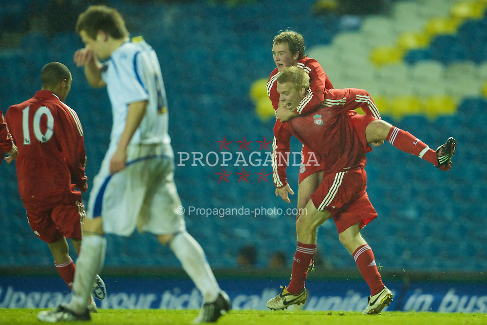 LEEDS, ENGLAND - Tuesday, December 2, 2008: Liverpool's Lauri Dalla Valle celebrates scoring the winning goal against Leeds United with team-mate Steven Irwin during the FA Youth Cup 3rd Round at Elland Road. (Photo by David Rawcliffe/Propaganda)