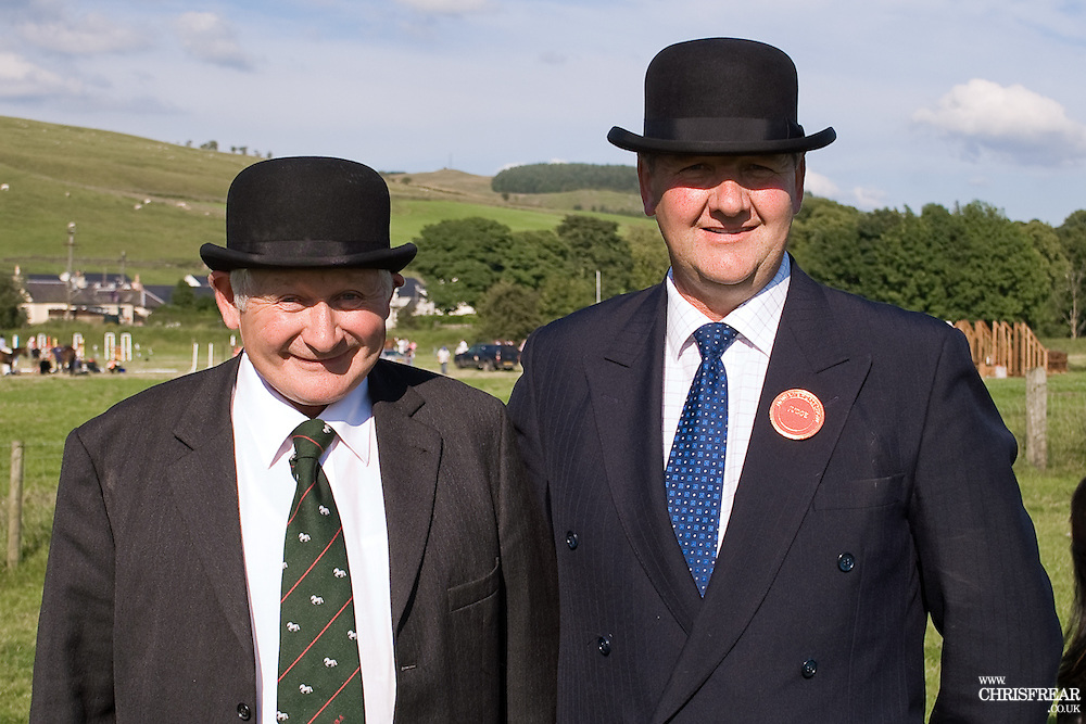 Bradford and Bingley, two bowler hatted judges at Moniaive horse show.
