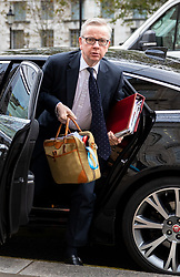 © Licensed to London News Pictures. 18/10/2019. London, UK. Chancellor of the Duchy of Lancaster Michael Gove arrives at the Cabinet Office this morning. Yesterday, British Prime Minister Boris Johnson agreed a Brexit deal with the EU. Photo credit : Tom Nicholson/LNP