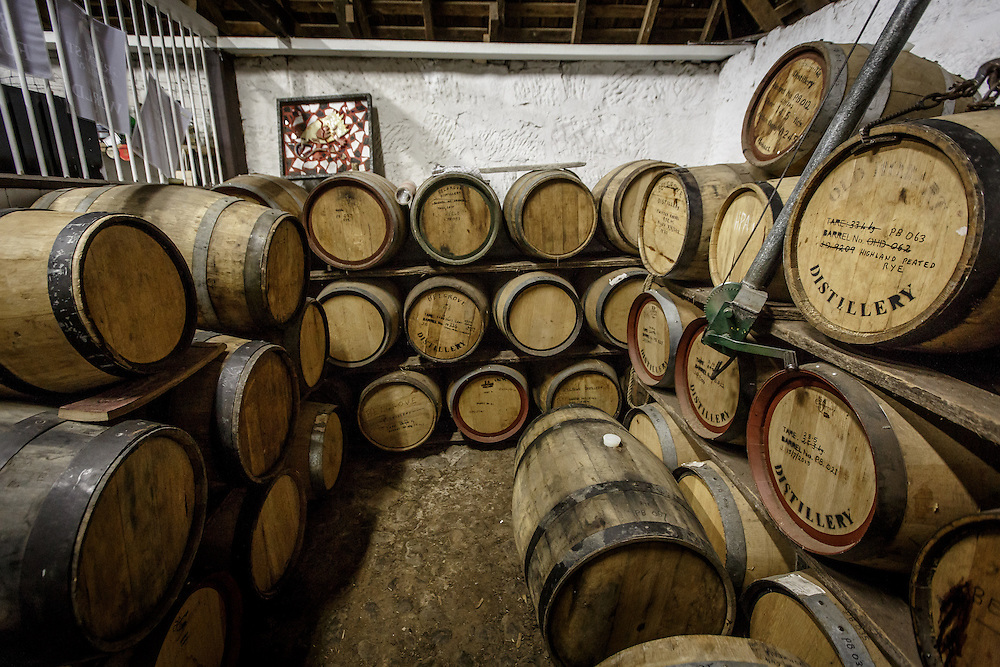 The bond store at Belgrove Distillery in Kempton, Tasmania, August 25, 2015. The entire distillery is a former stable sub-divided into four sections: still, mashing, tasting room, and bond store. Gary He/DRAMBOX MEDIA LIBRARY