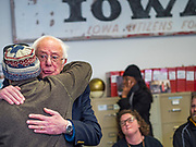 06 DECEMBER 2019 - DES MOINES, IOWA: US Senator BERNIE SANDERS (I-VT) hugs a campaign volunteer during a volunteer training session in Des Moines Friday. As the date of the Iowa caucuses approaches, many of the campaigns are ramping up their voter outreach efforts. The event was part of Sanders' campaign to be the Democratic presidential nominee in 2020. Iowa hosts the first selection event of the presidential election cycle. The Iowa Caucuses are Feb. 3, 2020.      PHOTO BY JACK KURTZ