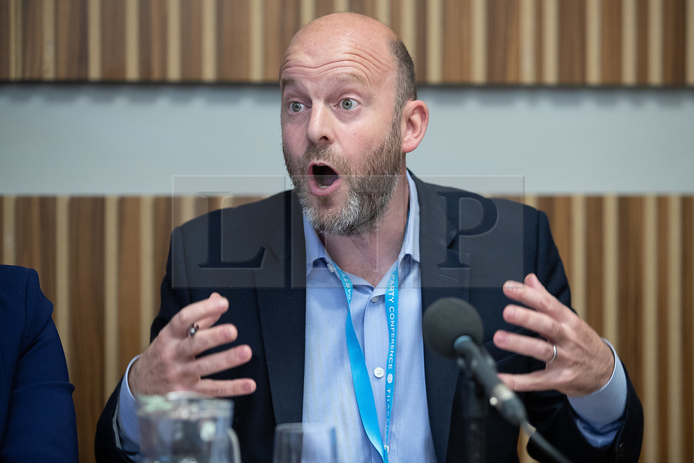 "© Licensed to London News Pictures . 01/10/2018. Birmingham, UK. Josh Hardie of the CBI . Prospect magazine fringe event titled "" Beyond tariffs where are our opportunities to boost trade post-Brexit "" , supported by Associated British Ports . Day 2 of the Conservative Party conference at the ICC in Birmingham . Photo credit: Joel Goodman/LNP"