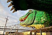 alligator float design piece on display outside Mardi Gras World in Algiers, Louisiana