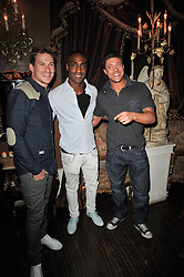 Left to right, LEE RYAN, SIMON WEBBE, DUNCAN JAMES at a party to celebrate the publication of her new book - Kelly Hoppen: Ideas, held at Beach Blanket Babylon, 45 Ledbury Road, London W11 on 4th April 2011.