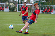 Harvey Livett (right) and Declan Patton of Warrington Wolves warm up with a round ball during the England Knights training session at Leigh Sports Village, Leigh<br /> Picture by Steve McCormick/Focus Images Ltd 07545 862647<br /> 17/10/2018