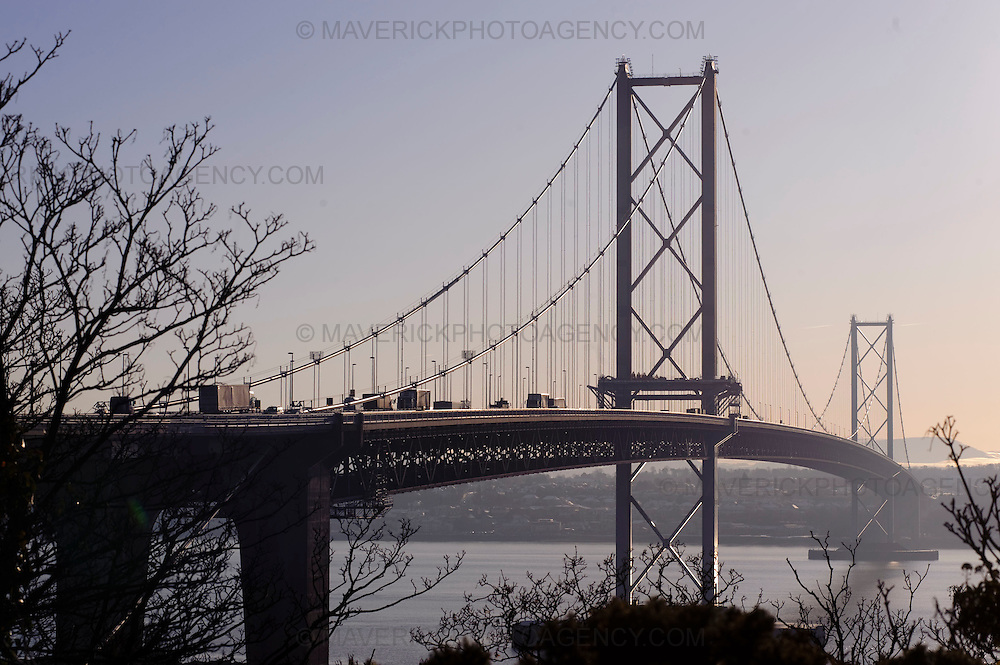 SOUTH QUEENSFERRY, UK - 7th January 2010:  General views of the Forth Road Bridge which spans over the Firth of Forth in the east of Scotland connecting the countries capital Edinburgh with Fife. (Photograph: Callum Bennetts/MAVERICK)