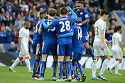 Leicester City midfielder Marc Albrighton celebrates scoring the fourth goal during the Barclays Premier League match between Leicester City and Swansea City at the King Power Stadium, Leicester, England on 24 April 2016. Photo by Alan Franklin.