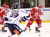2019-10-16 | Ljungby, Sweden: Troja-Ljungby (22) Carl-Johan Sjögren during the game between IF Troja / Ljungby and Kallinge / Ronneby IF at Ljungby Arena ( Photo by: Fredrik Sten | Swe Press Photo )<br /> <br /> Keywords: Ljungby, Icehockey, HockeyEttan, Ljungby Arena, IF Troja / Ljungby, Kallinge / Ronneby IF, fstk191016, ATG HockeyEttan