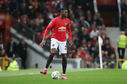 Manchester United's Aaron Wan-Bissaka during the EFL Cup match between Manchester United and Rochdale at Old Trafford, Manchester, England on 25 September 2019.
