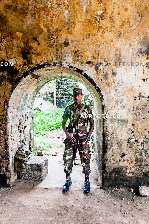 Sri Lankan army officer on patrol within the Jaffna fort.