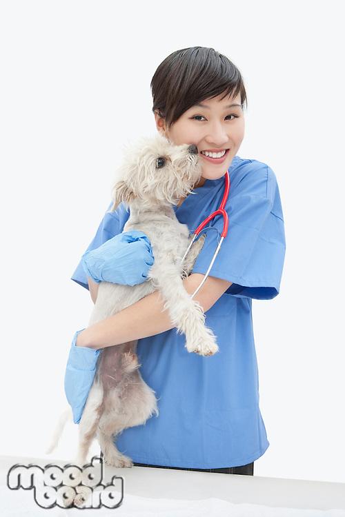 Portrait of Asian female veterinarian cuddling dog over gray background