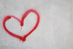Dec. 04, 2012 - Red heart shape on white wall (Credit Image: © Image Source/ZUMAPRESS.com)