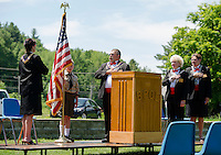 Dotti Gath Esquire, Adam Barton Boy Scout Troup 68, Jim Culpon Exalted Ruler, Jan Dignan Leading Knight and Margaret Mary Culpon Lecturing Knight stand to Pledge Allegience to the Flag during Flag Day ceremony with the Elks Lodge in Gilford on Sunday morning.  (Karen Bobotas/for the Laconia Daily Sun)