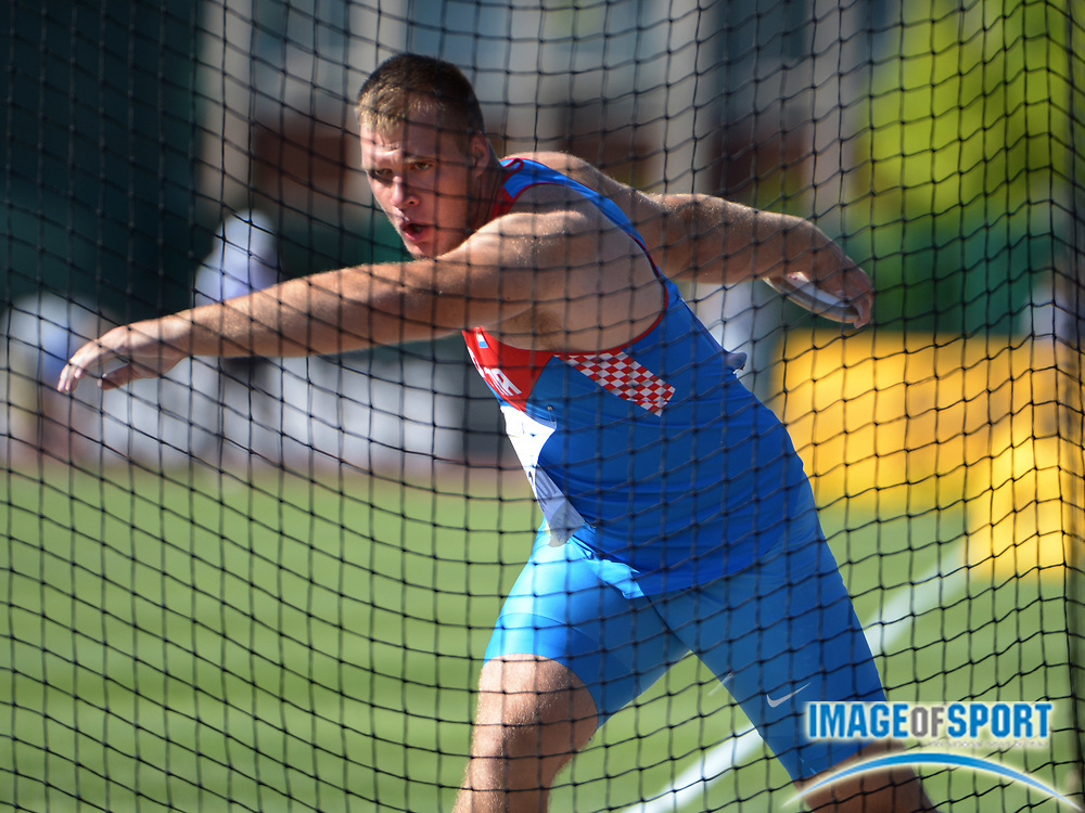 Jul 26, 2014; Eugene, OR, USA; Martin Markovic (CRO) wins the discus with a throw of 219-7 (66.94m) in the 2014 IAAF World Junior Championships at Hayward Field.