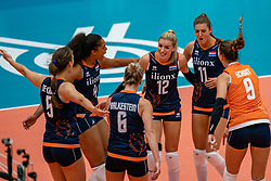 02-08-2019 ITA: FIVB Tokyo Volleyball Qualification 2019 / Belgium - Netherlands, Catania<br /> 1e match pool F in hall Pala Catania between Belgium - Netherlands. Netherlands win 3-0 / (L-R) Robin de Kruijf #5 of Netherlands, Celeste Plak #4 of Netherlands, Maret Balkestein-Grothues #6 of Netherlands, Britt Bongaerts #12 of Netherlands, Anne Buijs #11 of Netherlands, Myrthe Schoot #9 of Netherlands