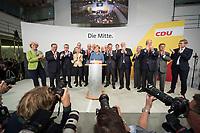 24 SEP 2017, BERLIN/GERMANY:<br /> Angela Merkel (M), CDU, Bundeskanzlerin, eingerahmt von Monika Gruetters, Armin Laschet, Thomas de Maiziere, Ursula von der Leyen, Jens Spahn, Peter Tauber, Karl-Josef Laumann, Dr. Klaus Schueler, Volker Kauder, Guenther Oettinger, David McAllister, Peter Altmeier, Johanna Wanka, Philipp Murmann, Elmar Brok, Daniel Guenther, (v.L.n.R.), Wahlparty in der Wahlnacht, Bundestagswahl 2017, Konrad-Adenauer-Haus, CDU Bundesgeschaeftsstelle<br /> IMAGE: 20170924-01-034<br /> KEYWORDS: Election Party, Election Night