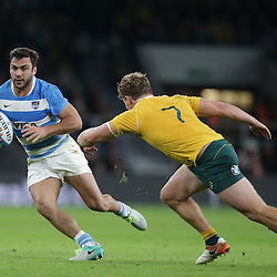 Martin Landajo of Argentina is tackled by Michael Hooper of Australia during the The Rugby Championship match between Argentina and Australia at Twickenham Stadium, Twickenham - 08/10/2016<br />