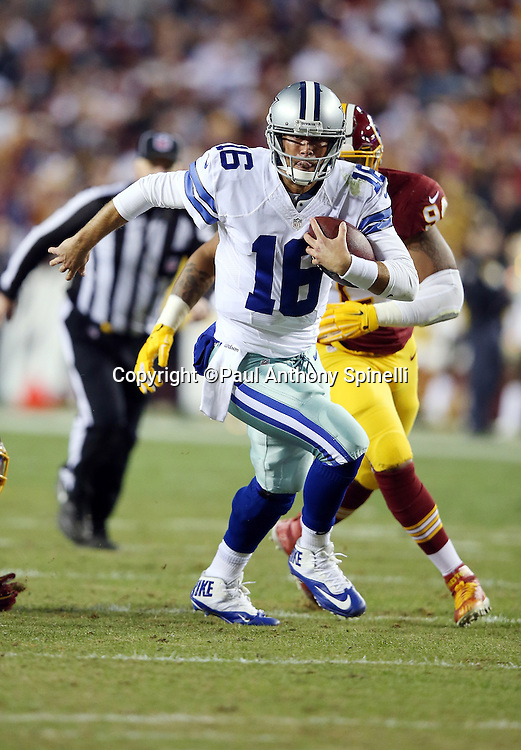 Dallas Cowboys quarterback Matt Cassel (16) runs the ball just short of a third quarter first down during the 2015 week 13 regular season NFL football game against the Washington Redskins on Monday, Dec. 7, 2015 in Landover, Md. The Cowboys won the game 19-16. (©Paul Anthony Spinelli)
