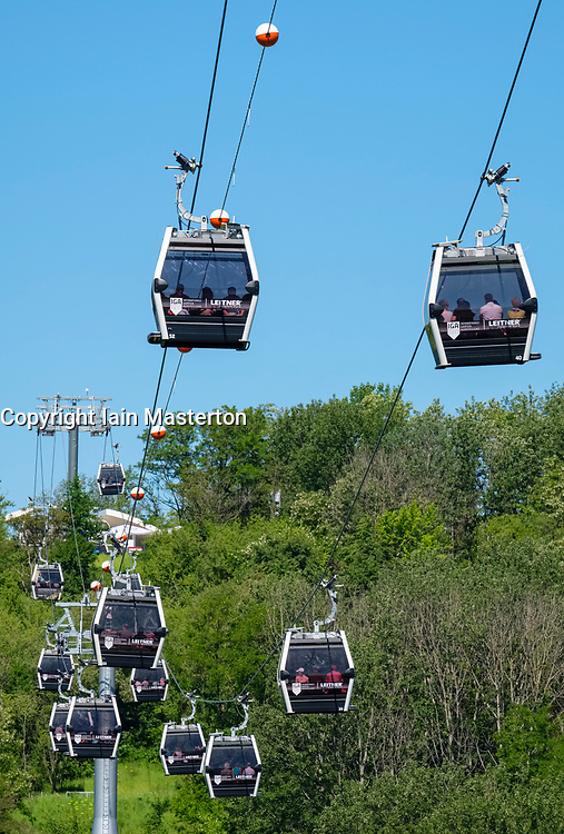 Visitor cable cars at IGA 2017 International Garden Festival (International Garten Ausstellung) in Berlin, Germany