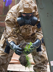 © Licensed to London News Pictures. 24/04/2018. Salisbury, UK. Members of the armed forces remove contaminated soil from the area at the Maltings where a bench was earlier removed as the cleanup operation begins in Salisbury. Former Russian Spy Sergei Skripal and his daughter Yulia were poisoned using a nerve agent in the city last month. Experts have warned that 'Toxic levels' of the nerve agent novichok could still be present at hot spots around the city. Photo credit: Peter Macdiarmid/LNP