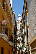 A vertical perspective of a small street and ornate Cathedral bell tower in the Barrio Santa Cruz, Seville, Spain.