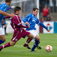 Arbroath v St Johnstone....04.07.11 Pre-Season Friendly<br /> Kevin Moon and Josh Falkingham<br /> Picture by Graeme Hart.<br /> Copyright Perthshire Picture Agency<br /> Tel: 01738 623350  Mobile: 07990 594431