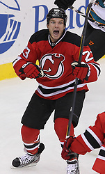 Oct 21; Newark, NJ, USA; New Jersey Devils right wing David Clarkson (23) celebrates scoring a goal during the third period at the Prudential Center. The Sharks defeated the Devils 4-3 in an OT shootout.