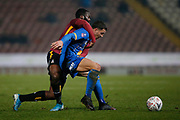 Oliver Norburn of Shrewsbury is fouled by Bradford City's Hope Akpan(21) during the The FA Cup match between Bradford City and Shrewsbury Town at the Utilita Energy Stadium, Bradford, England on 19 November 2019.