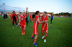 NEWPORT, WALES - Tuesday, June 12, 2018: Wales' Jessica Fishlock, Natasha Harding and Loren Dykes celebrate at the final whistle after beating Russia 3-0 during the FIFA Women's World Cup 2019 Qualifying Round Group 1 match between Wales and Russia at Newport Stadium. (Pic by David Rawcliffe/Propaganda)