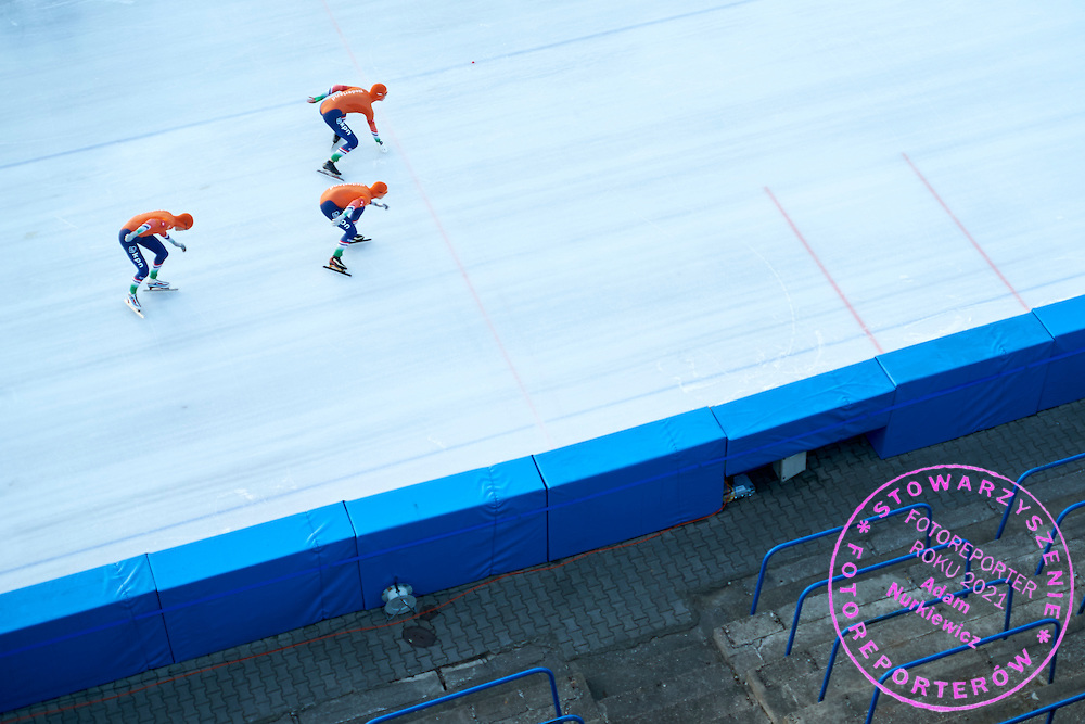 Team Netherlands (Marcel Bosker and Wesly Dijs and Thomas Geerdinck and Patrick Roest) compete in Team Pursuit Men (8 laps) final during First Day of the ISU Junior World Cup Speed Skating on Stegny Ice Track on February 14, 2015 in Warsaw, Poland.<br /> <br /> Poland, Warsaw, February 14, 2015<br /> <br /> Picture also available in RAW (NEF) or TIFF format on special request.<br /> <br /> For editorial use only. Any commercial or promotional use requires permission.<br /> <br /> Adam Nurkiewicz declares that he has no rights to the image of people at the photographs of his authorship.<br /> <br /> Mandatory credit:<br /> Photo by &copy; Adam Nurkiewicz &amp; Tomasz Gladys / Mediasport