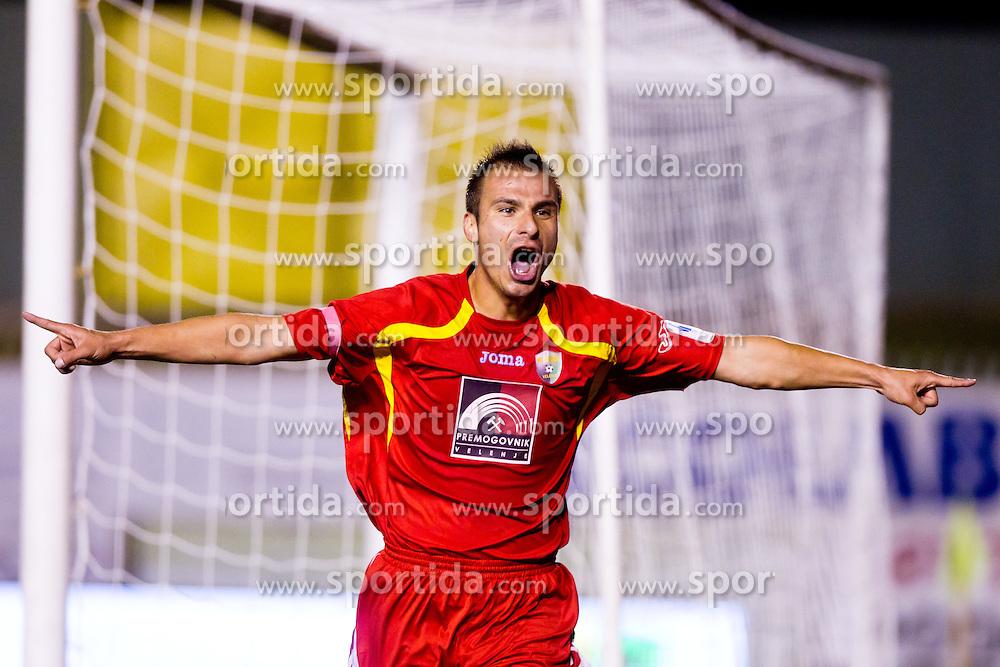 Amel Mujakovic of NK Rudar celebrates a goal during football match between NK Rudar and NK Olimpija Ljubljana of 14th Round of PrvaLiga, on October 15, 2011, in Mestni stadion, Velenje, Slovenia. (Photo by Matic Klansek Velej / Sportida)