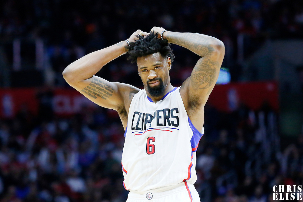 10 January 2016: Los Angeles Clippers center DeAndre Jordan (6) looks dejected during the Los Angeles Clippers 114-111 overtime victory over the New Orleans Pelicans, at the Staples Center, Los Angeles, California, USA.