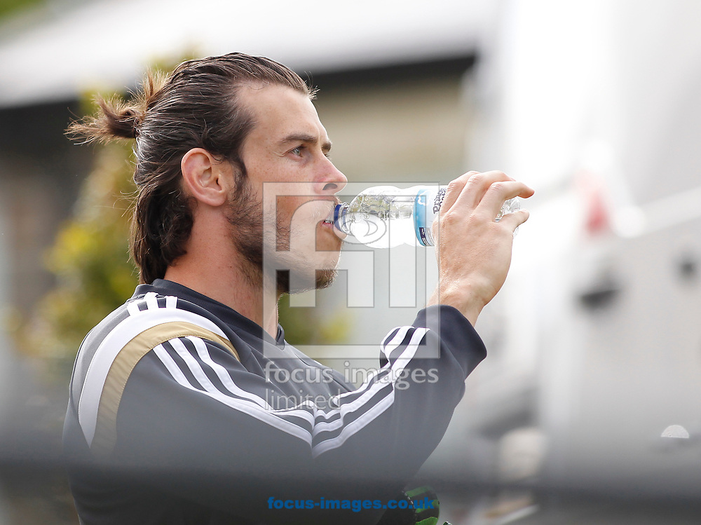 Gareth Bale arriving for the Wales Training session at the Vale Resort, Hensol<br /> Picture by Mike Griffiths/Focus Images Ltd +44 7766 223933<br /> 08/06/2015