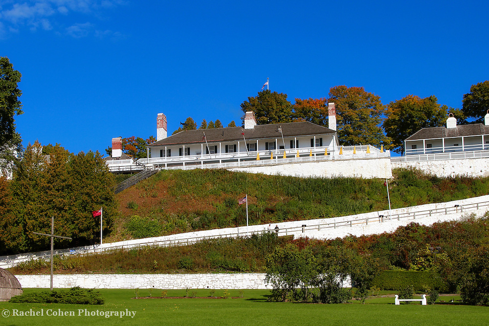 &quot;Fort Mackinac&quot;<br /> <br /> A view from the green below of historic Fort Mackinac located on Mackinac Island Michigan. An early autumn scene with stunning blue skies!