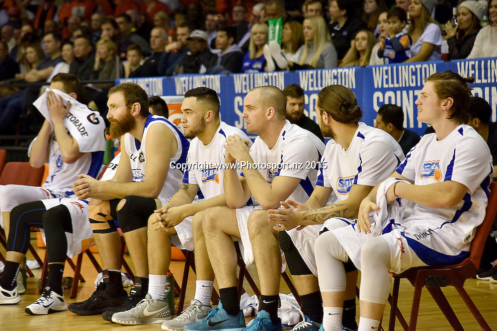 The Saints a penalty against their side during the NBL final basketball match between Wellington Saints and Southland Sharks at the TSB Arena in Wellington on Sunday the 5th of July 2015. Copyright photo by Marty Melville / www.Photosport.nz